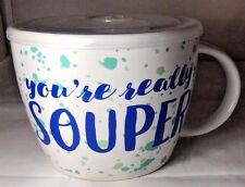 "Microwave Souper Soup Mug Bowl w/ Steam Lid 24 oz Ceramic ""You're Really Souper"""