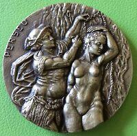 D- PERSEUS AND MEDUSA,STUNNING HUGE SOLID BRONZE MEDAL.80 MM.GREEK MYTHOLOGY.