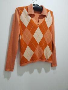 PRINGLE OF SCOTLAND Cashmere/Silk Blend Argyle Pattern Polo Neck Jumper M