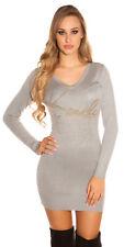 Sexy KouCla Longpulli Kleid Mit Nietenprint Pullover XS S M 34 36 38