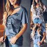 Womens V Neck Choker Tee Tops Blouse Ladies Summer Short Sleeve Top T Shirt New