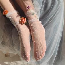 Women Summer Dot Tulle Socks Transparent Thin Long Socks Female Lace Dress Socks