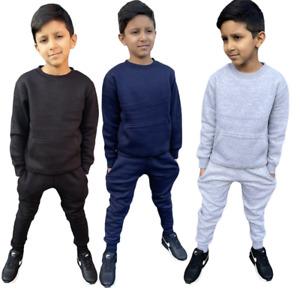 Boys Plain Tracksuit Top Jogging Bottom School Jog Suit Fleece Pants Set