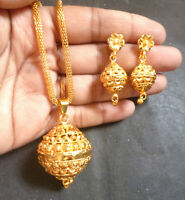 22K Gold Plated Indian Designer Necklace chain earrings pendant party bridal b