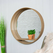 Large round natural wooden wall shelving unit mirrored back modern display shelf