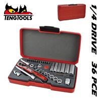 TENG  T1436 Socket Set Metric 36 Piece 1/4 in Drive 4mm <-> 13mm Hex Key PZ PH