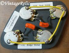 Wiring Kit Orange Drop .022uF Caps CTS 550k LONG SHAFT pots for Gibson Les Paul
