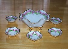 Wittelsbach Germany vintage Bavarian china dish set 6 pieces pink flowers footed
