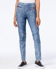 Marilyn Monroe Juniors' Faux Zipper-Pocket Moto Leggings, Med Blue Wash, Small S
