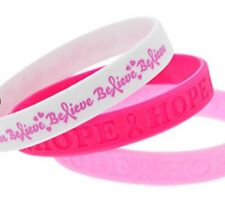 6 Pink. Silicone  RIBBON Breast Cancer Awareness Bracelets