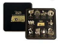 Disney D23 Twenty Three 2019 Exclusive Gold Member Pin Set 10th Anniversary Gift
