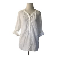 Talbots Factory Petite Small White Popover Blouse Top Roll Tab Sleeves NWT