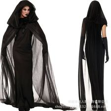 Black Hooded Cloak Wicca Robe Medieval Witchcraft Cape Halloween Costume Cosplay