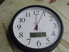 """15"""" Round White Face Analog Wall Clock w Digital Date and Temperature"""