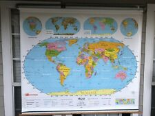 NYSTROM SCHOOL 2 LAYER PULL DOWN MAP 1NS991 WORLD & UNITED STATES