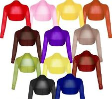 Womens Ladies Full Mesh Sheer Chiffon Bolero Cropped Shrug Top Cardigan 8-26