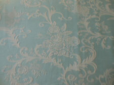 Antique Vtg. French Roses Scroll Damask Cotton Fabric ~ Soft Blue
