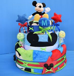 Mickey Mouse 8 Pc. plus 62 Diaper Gift Cake- Baby Boy by Disney Baby