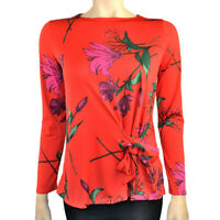 EX.DEBENHAMS ORANGE FLORAL LILY PRINT BLOUSE TOP TIE FRONT Sizes 8 to 24