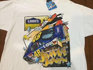 2002 Vintage NASCAR Jimmie Johnson Looney Tunes Jumbo Print Shirt NOS L Rare NWT