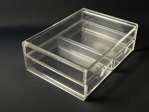 Muji acrylic storage box desk organiser make up office clear drawers stack tray