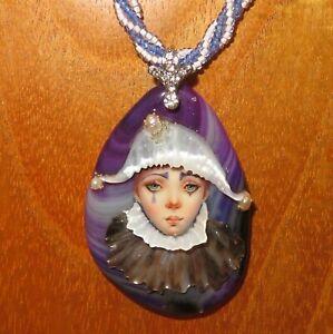 Black & Purple Harlequin Pendant SHENSHIN hand made Stone Shell beaded necklace