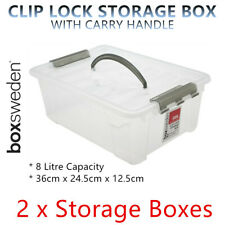 8L Plastic Storage Box w Lid and Handle Container Tub Bin 36x24.5x12.5cm Office