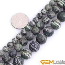 "Frost Green Zebra Jasper Natural Gemstone Round Loose Beads for Jewelry 15""DIY"