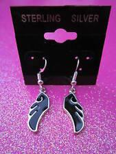 925 Sterling Silver Black Angel Wing Dangle Earrings