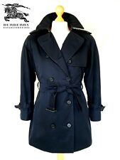 Vtg Womens Short BURBERRY Trench Coat DOUBLE BREASTED Mac Rain Jacket UK 14/16