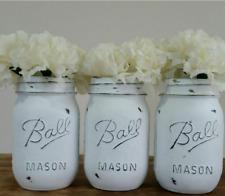 "BALL 6"" Mason Jar Glass handpainted distressed Boho look 3 Jars industrial farm"