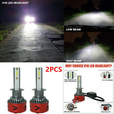 Pair V16 H1 1800W 6000K White LED Headlight Conversion Bulbs High Low Beam Kit