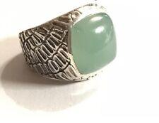 David Yurman Sterling Silver Gator 15mm Green Jade Signet Men Ring 8