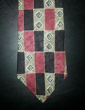 Monsieur Givenchy Tie Silk Geometric Design Black Tan Red NIB t2196