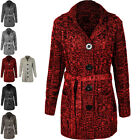 Womens Ladies Grandad Chunky Cardigan Long Sleeve Belted Button Knitted Jumper
