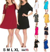 USA Women Piko Style Dolman Tunic Top DRESS Scoop Neck Short Sleeve S M L XL