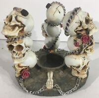 Tri Day Of The Dead Skulls Candle Burner Polyresin Statue