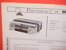 1967 LEAR JET CAR AUTO 8-TRACK TAPE/AM RADIO SERVICE MANUAL MODEL ASR-830-H