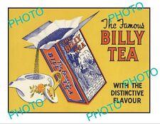OLD LARGE HISTORIC AUSTRALIAN BILLY TEA TEA ADVERTISING POSTER c1940s