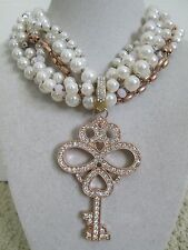 NWT Auth Betsey Johnson Wanderlust Large Key Pearl Multi-Row Statement Necklace