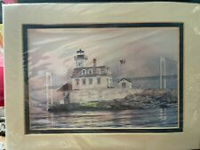 Harbour Lights Rose Island, Ri Lighthouse Signed and Numbered Print Watercolor