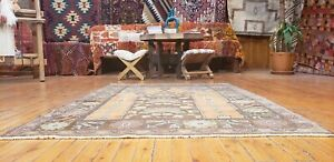 "Genuine Late 1930's Antique Muted Dye Wool Pile Oushak Prayer Rug 3'7""× 4'10''"