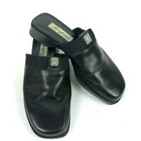 Brighton Womens Shoes Size 8.5 M Black Leather Slide On Mules Made In Italy