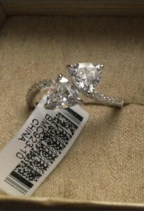 2 CTW CZ Trillion Bypass Ring, Rhodium Plated 925 Sterling, Size 10
