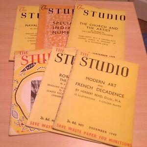 6 x The Studio Magazine July- December 1942 job lot no 592-597