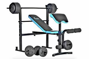 Brand New Men's Health Folding Bench & Preacher with 50kg Weights 24H Delivery