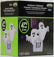 Halloween 4 ft Light Up Friendly Tombstone Ghost Airblown Inflatable NIB