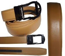 Men's belt. Leather Dress Belt Comfort Strap Automatic Lock New buckle up to 43""