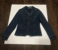 St Johns Bay Womens Denim Jean Jacket Sz Small Button Front With Stretch