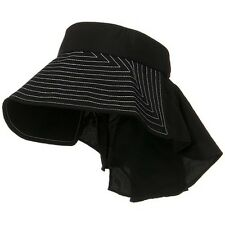 Taslon UV Sun Protection Wide Brim Packable Visor With Flap BLACK